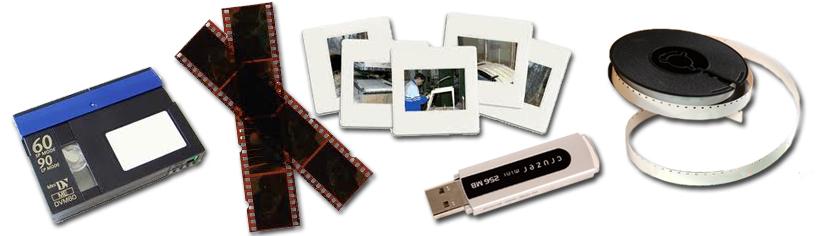 Numérisation de films super 8, de cassettes vidéos, de diapositives.