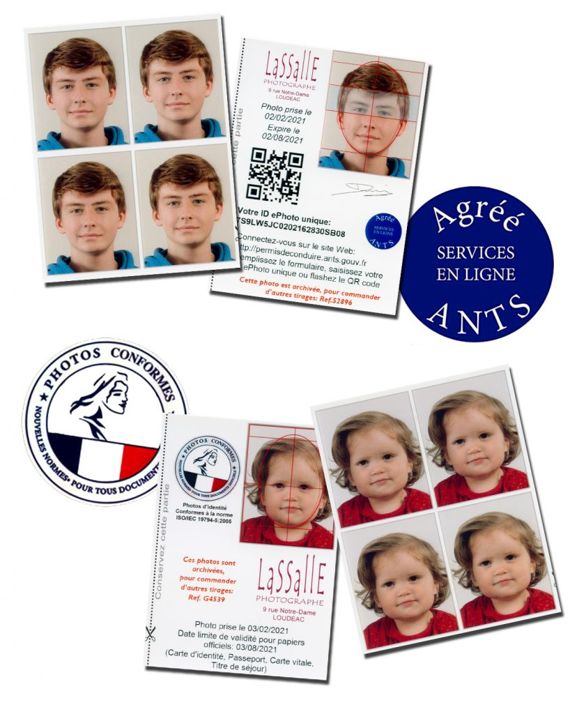 Photos d'identité aux normes françaises officielles et aux normes ANTS. e.photos